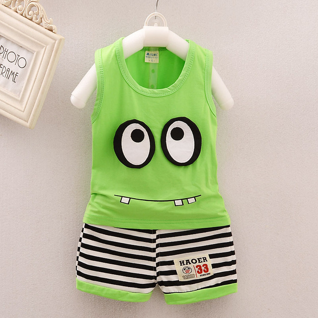2c54c06b9bac Baby Boys Clothing Sport Suit Summer Cotton Clothes Big Eyes ...