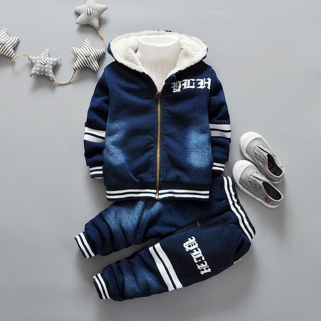 6ec2ff55ad13e Bébé garçon fille vêtements ensemble velours bambin vêtements hiver automne  survêtements enfants Sport costume ensemble décontracté