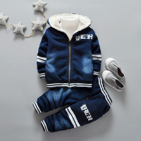 Baby Boy Girl Clothing Set velvet Toddler Clothes Winter Autumn Tracksuits Kids Sport Suit Set Casual Cardigan Coats/Jacket+Jean