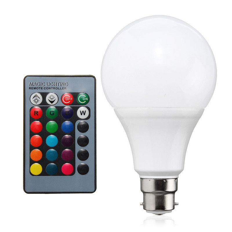 RGB LED Light B22 20W 85-265V 16 Color Changing Lamp Bulb Home Energy Saving Lamp Lighting + 24 Keys Remote Control enwye e14 led candle energy crystal lamp saving lamp light bulb home lighting decoration led lamp 5w 7w 220v 230v 240v smd2835