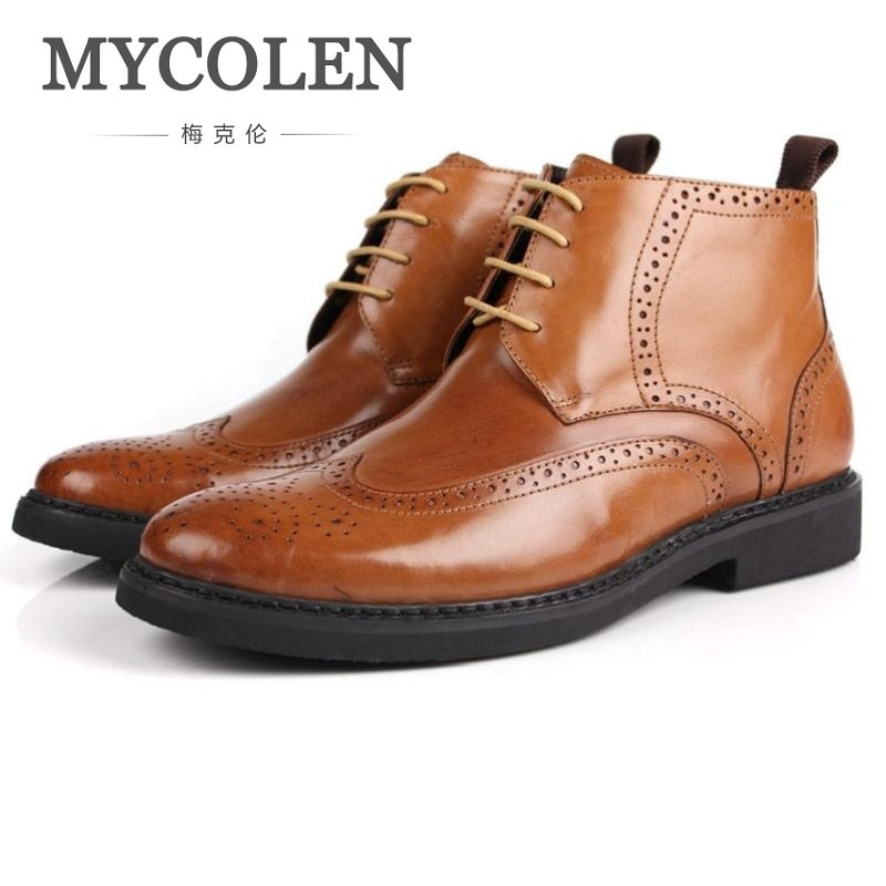 MYCOLEN Brand New Winter Brogue Style Men Genuine Leather Boots Male Winter Shoes Wedding Party Carving Dr Martens Shoes mycolen 2017 fashion winter men boots british style working safety boots casual winter men shoes male black leather ankle boots