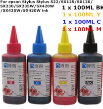 Универсальный Высокое качество 4 Цветов Премиум Чернилами на Основе Красителя 400 МЛ Для EPSON stylus S22/SX125/SX130/SX230/SX235W/SX420W/SX425W/SX430W принтеры
