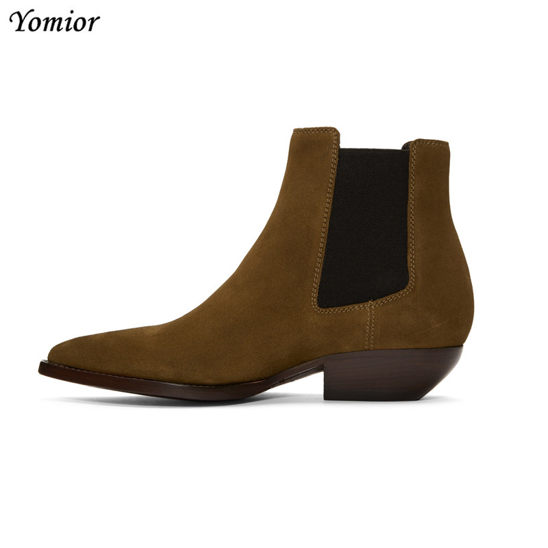Yomior Vintage British Cow Leather Men Fashion High Quality Handmade Ankle Boots Casual Pointed Toe Business Party Chelsea Boots new british style real top cow leather boots qshoes mens business dress casual fashion men personalized round toe boot y97 663