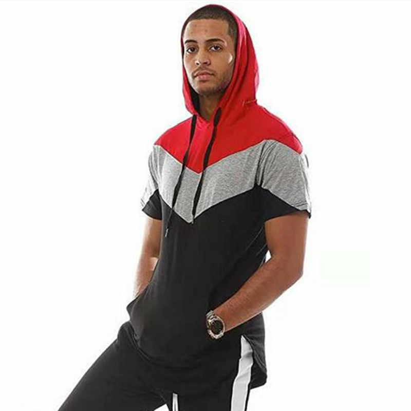 Men's trend hip hop casual short-sleeved hoodie 3 color stitching T-shirt men's fashion hooded men's design long sports hoodies
