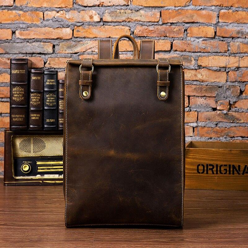 Crazy horse genuine leather men backpack 15 inch laptop business bag vintage cow leather travel backpack