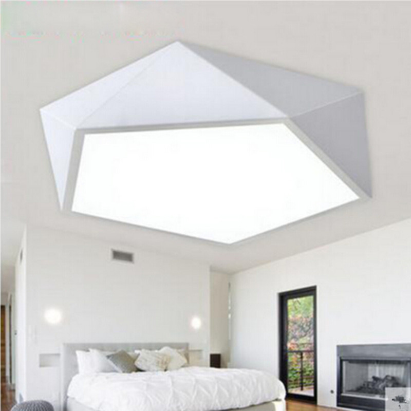 Modern Ceiling LED lamp  Geometric Polygon Iron Baked Paint Body Acrylic Faceplate Panel For Bedroom Light Fixture|Ceiling Lights| |  - title=