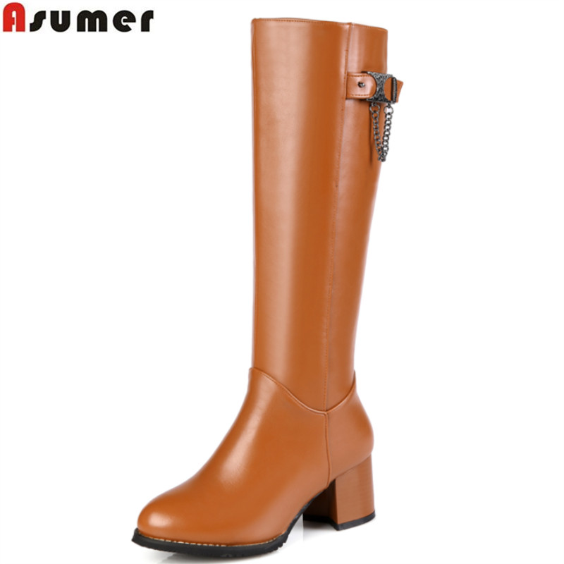 ASUMER big size 34-43 2018 new hot sale high quality pu knee high boots med heel round toe solid black winter warm women boots