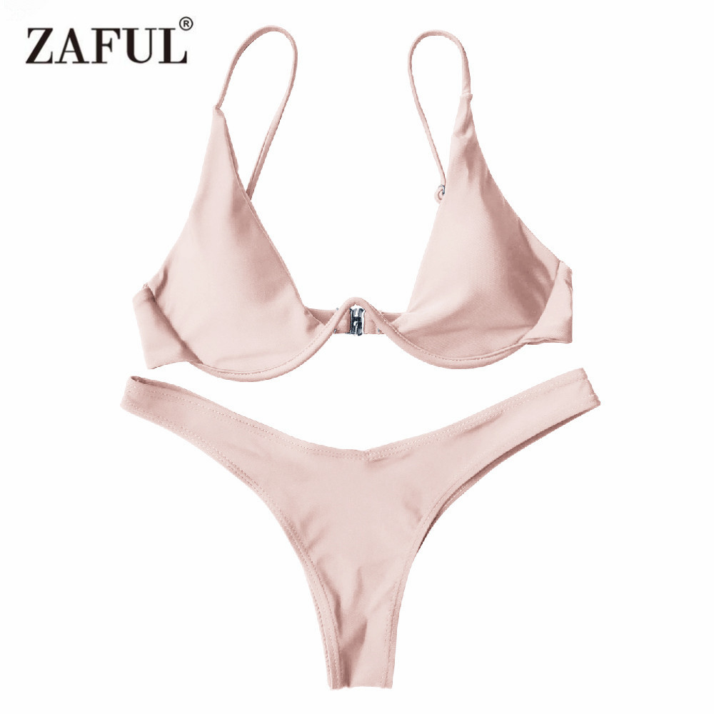 цена на Zaful Bikinis Set Women's Swimsuit Two-Piece Swimwear Low Waist Push Up Underwired Plunge Swimming Suit Sexy Brazilian Biquni