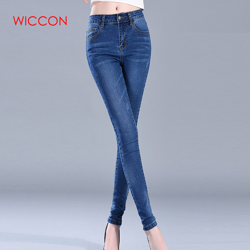 WICCON Autumn Denim Jeans For Women Slim High Waist Elastic Skinny Pencil Pants Jeans Trousers Bleached Big Size Jeans Female