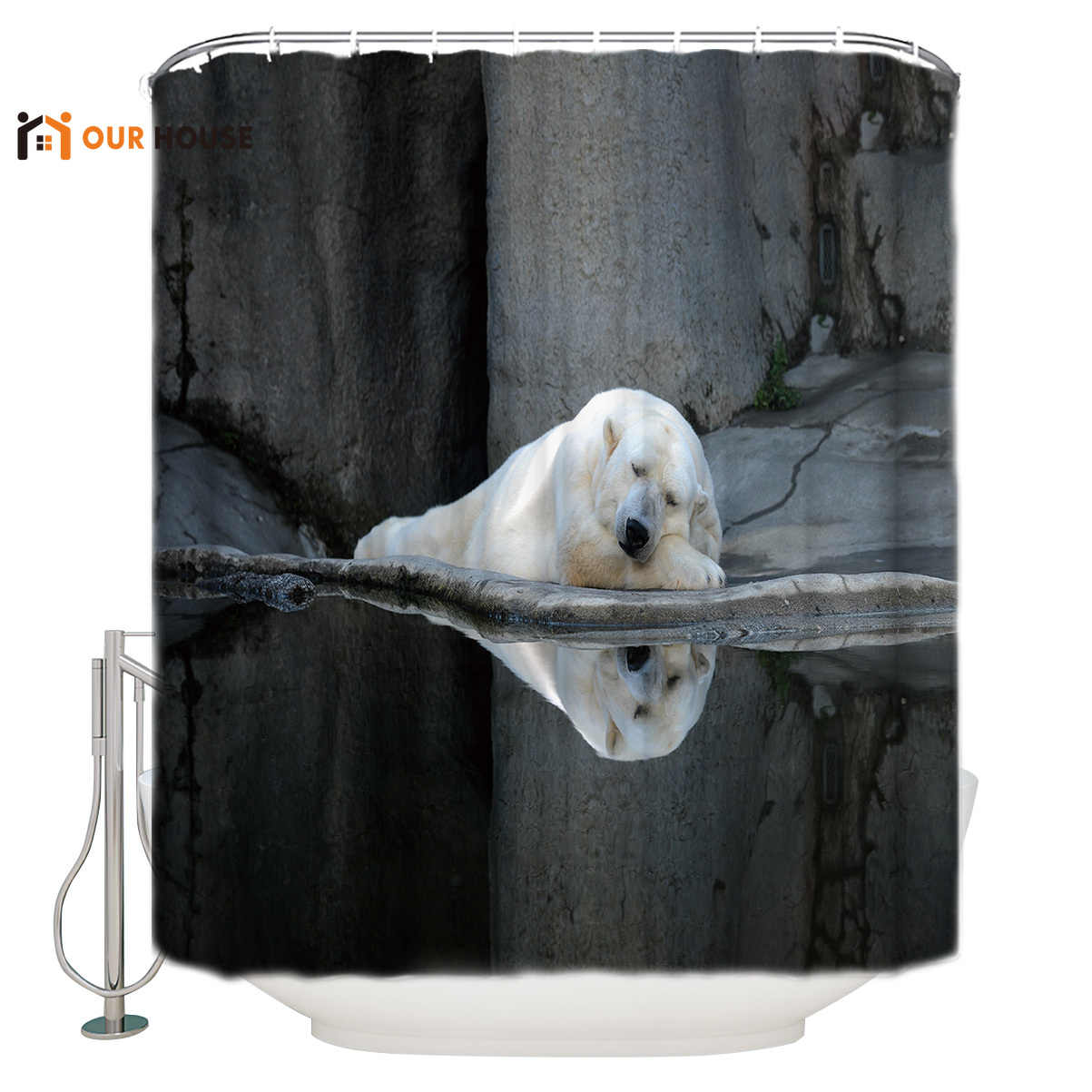 OURHouse Sleeping Polar Bear Shower Curtain Bathroom Bed Bath Bathroom  Liner Childrens Floral Rings Girls Kids Mens Cool Weig