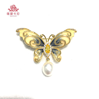WEICOLOR Elegant Butterfly Shaped Brooch With Nice Waterdrop Natural Freshwater Pearl.
