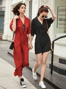 ARTKA Short Jumpsuit Lace-Up Print Loose High-Waist Summer Women Chiffon Dot KA10594X