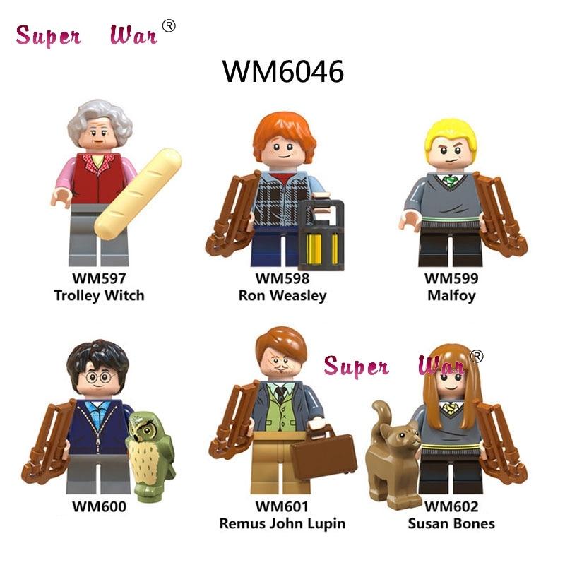 50 Pz Blocchi Di Costruzione Di Harry Potter Figure Trolley Strega Susan Ossa Ron Weasley Malfoy Remus John Lupin Per Bambini Del Capretto Giocattolo