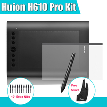 Cheaper Huion H610 Pro 10″x 6.25″ Graphics Drawing Digital Tablet 5080 LPI Kit +Protective Film + Parblo Two-Finger Glove +10 Extra Nibs