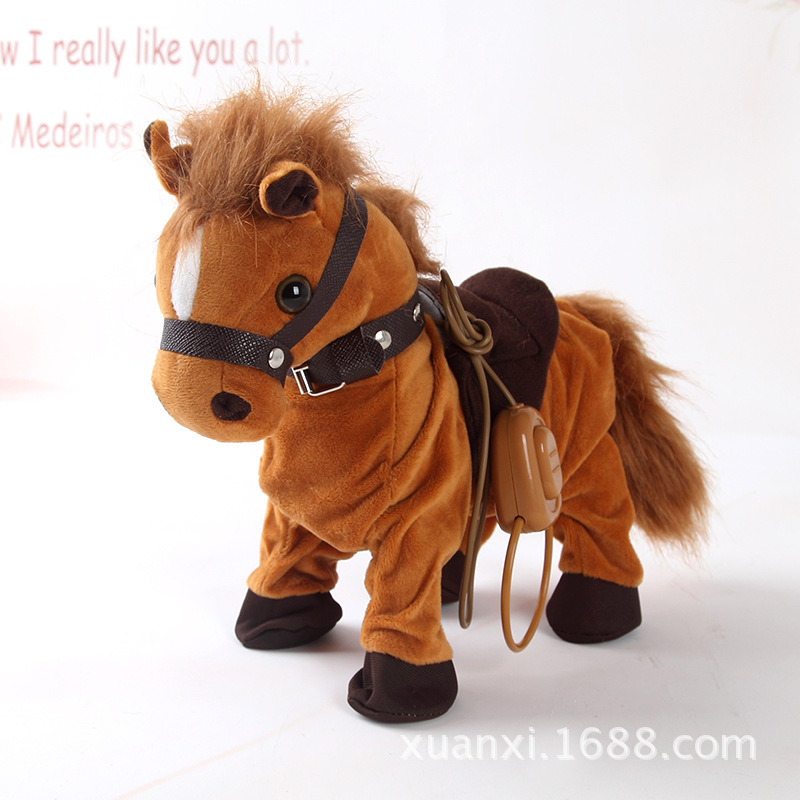 Robot Horse Electronic Interactive Horse Leash Plush Animal Pet Toy Walk Whinny 10 Songs Music Toys For Children Birthday Gifts robot unicorn sound control interactive unicorn electronic toys plush pet unicorn toy walk talk toys for children birthday gifts