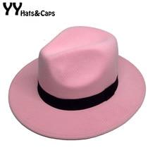 Retro Panamá Feltro Caps Aba Larga Fedora Chapéus Para O Inverno Masculino  chapéu para As Mulheres d93c4c863f0