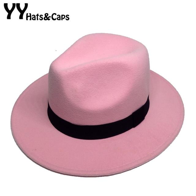 cb4bd9149e345 Retro Fedora Hats For Male Winter Felt Caps Wide Brim Panama Hat for Women  Winter Vintage Trilby Caps Sombrero de Hombre YY18017