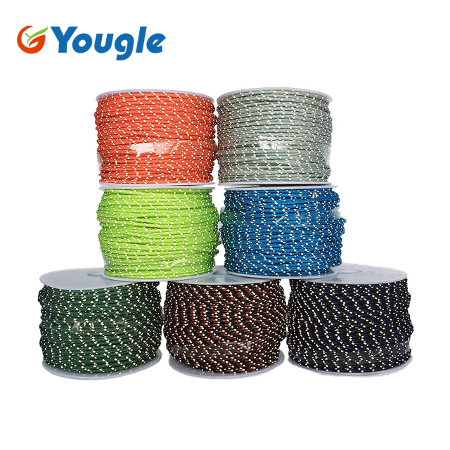 YOUGLE 50 Meters 2.5mm 3 Strands Cores 280LB Reflective Paracord Parachute Cord Tent Guy Fishing Line Clothesline