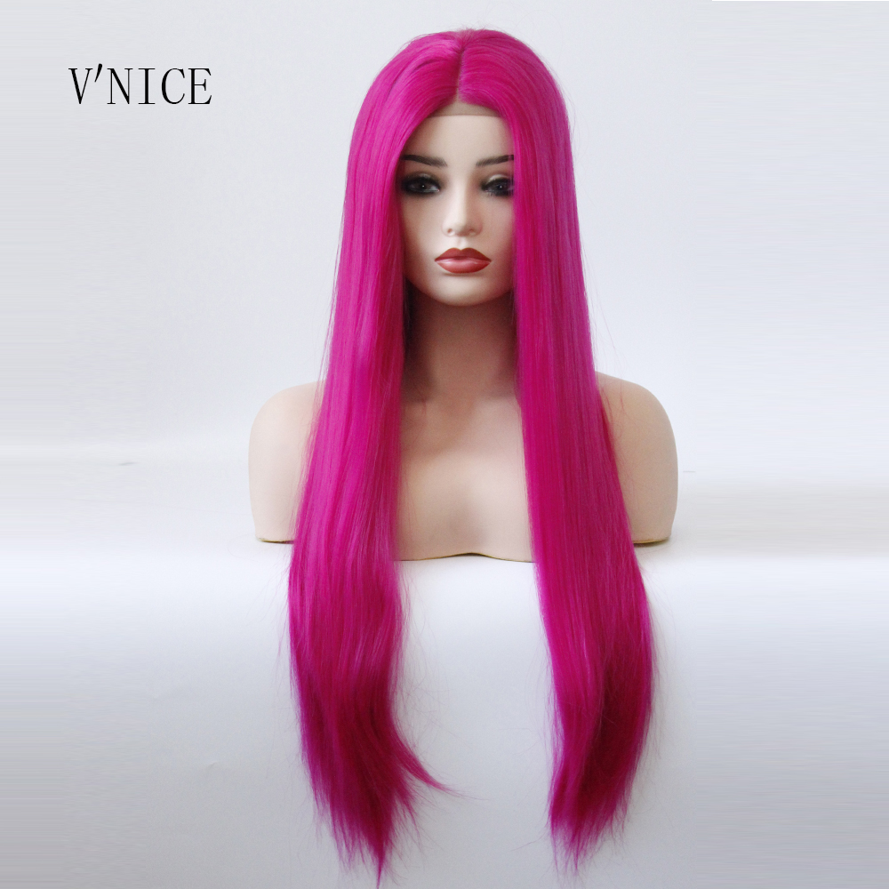 Middle Part Wig Hand Tied Rose Red Color Straight Heat Resistant Hair Cosplay Drag Queen Glueless