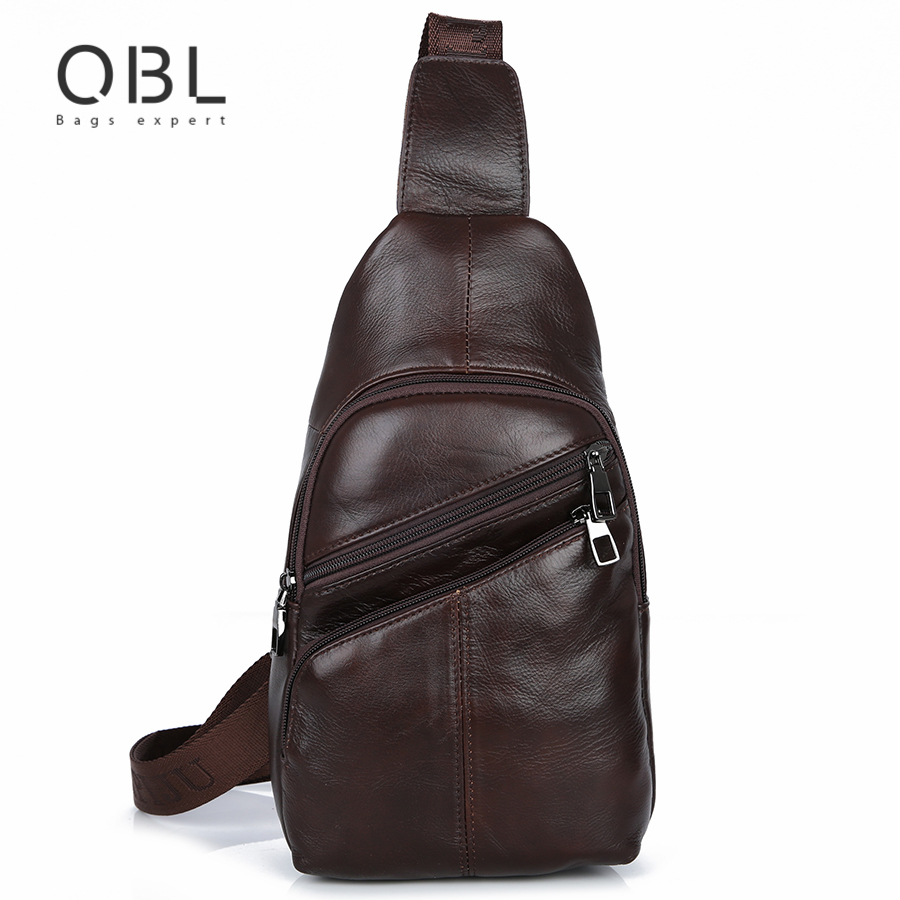 QiBoLu 2017 Cow Genuine Leather Sling Bags Men Chest Crossbody Single Shoulder Bag for Man Sacoche Homme Bolsa Masculina MBA65 qibolu handbag men bag briefcase business travel laptop messenger crossbody shoulder bag sacoche homme bolsa masculina mba17