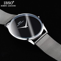 IBSO Mens Watches Top Brand Luxury Steel Mesh Strap Quartz Wristatches 2017 Fashion Simple Style 3ATM