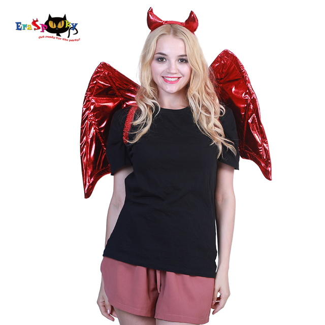 2018 Sexy Angel Devil Horns Headband Women Costume Wings Cosplay  Accessories Feathers Halloween Party Demon Fancy efabf68d26fb