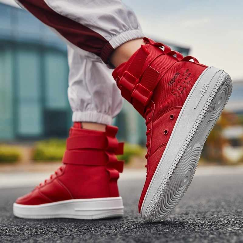 3b329643c7 Casual Shoes Men Autumn 2018 Footwear Men's White Red Sneakers army boots  Lace Up Flats Breathable Fashion Men Hip Hop Shoes