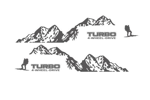 Виниловая наклейка на 4 колеса с Горным приводом для Toyota Prado Land Curies, уличная спортивная наклейка s, наклейка для боковой отделки двери автомобиля - Название цвета: Темно-серый