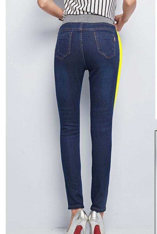 azul azul Mujeres Nuevo 2017 Gran Pan Grado Coreano Cielo Estilo Elástica De Otoño Las Jeans Pies Tamaño Fuerza Tensión Y Primavera Cintura Negro Alta qwBz1pnPS