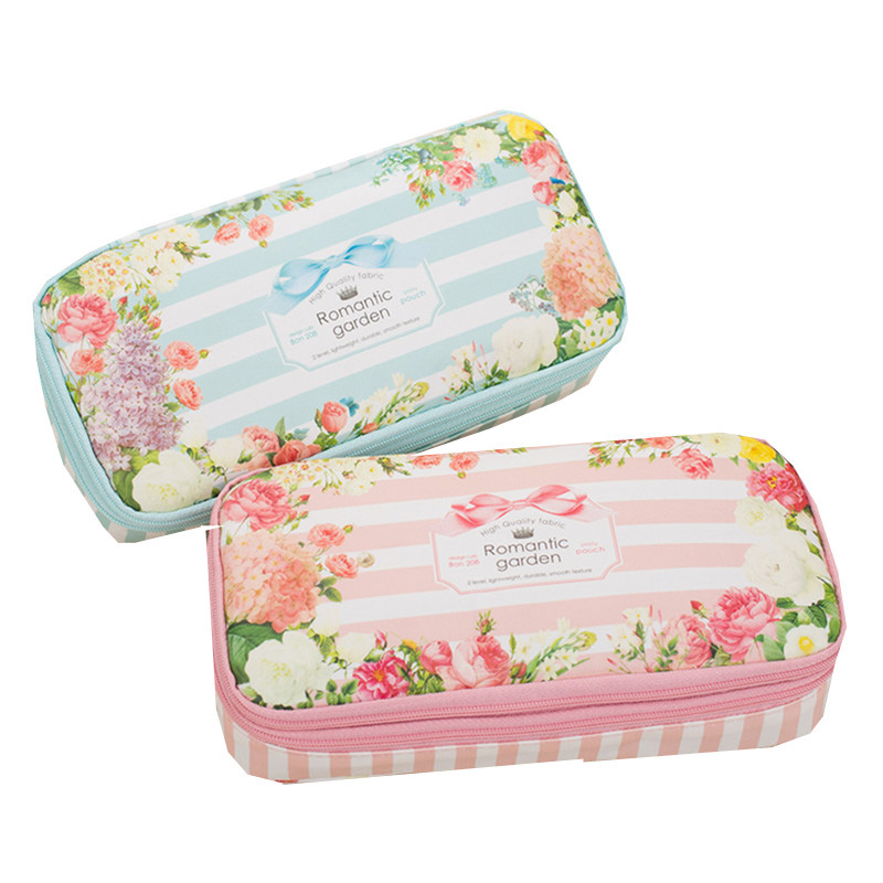 2018 New School Pencil Case Korean Romantic Floral Garden Double Layers Pencil Bag Waterproof Big Pen Box Stationery Supplies big capacity high quality canvas shark double layers pen pencil holder makeup case bag for school student with combination coded lock