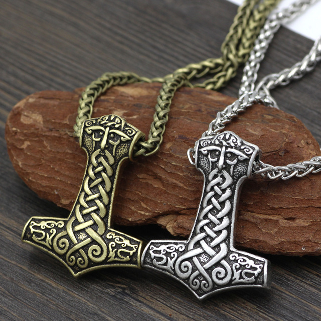 men norse viking amulet large thor hammer mjolnir odin face bear