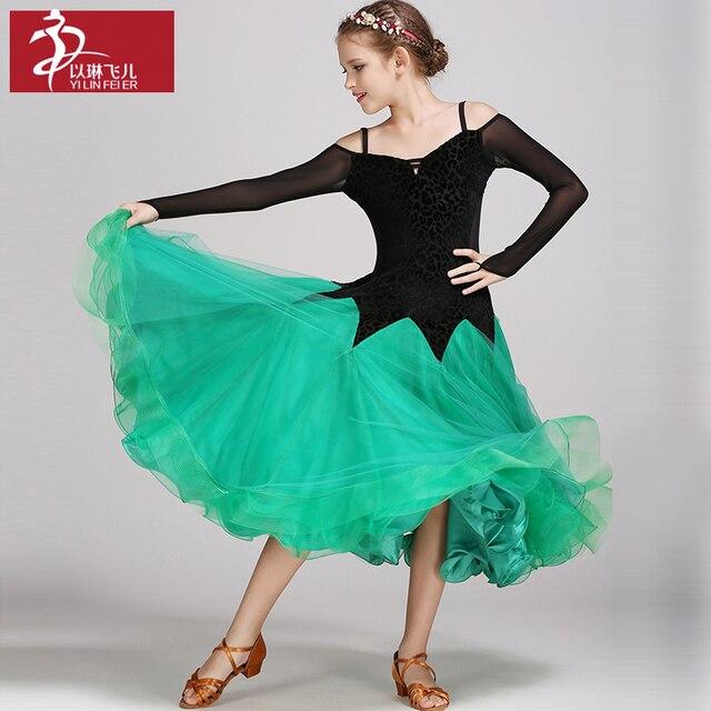 a415752e US $68.64 13% OFF|Dziecko suknie na konkurs tańca towarzyskiego najnowszy  projekt dla dzieci nowoczesne Waltz Tango sukienka wielowarstwowe taniec ...