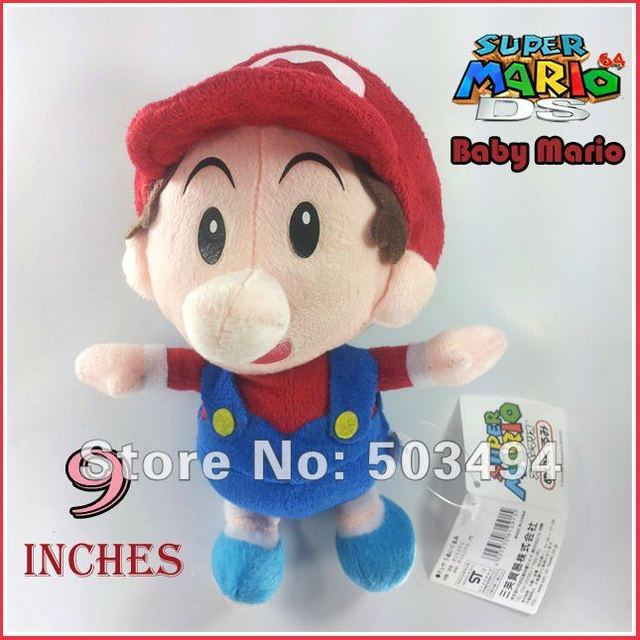 Free shipping 4PCS Baby Mario,waluigi,luigi,wario baby plush Super Mario Bros Baby Mario Plush Toy Soft Doll Stuffed Animal 9""
