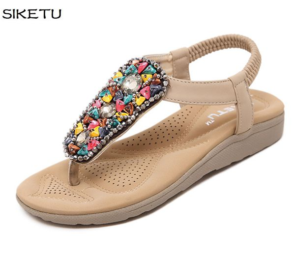 Gladiator new fashion flats sandals shoes JF042 women khaki black beaded bohemia beach sweet lady girl women's sandals