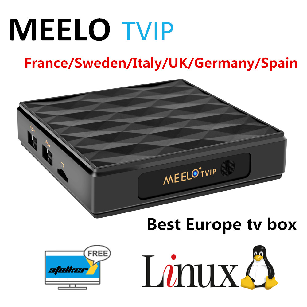 2018 Newest MEELO TVIP S805 Quad Core Linux IPTV M3U Smart TV Box Support WEB portal H.265 Stalker wifi 2.4G smart media player