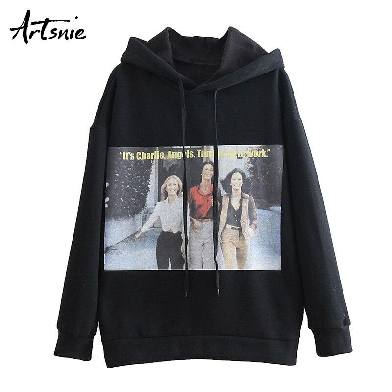 Artsnie Character Print Streetwear Knitted Sweatshirt Women Spring 2019 Oversized Hoodies Drop Sleeve Casual Sweatshirts Female