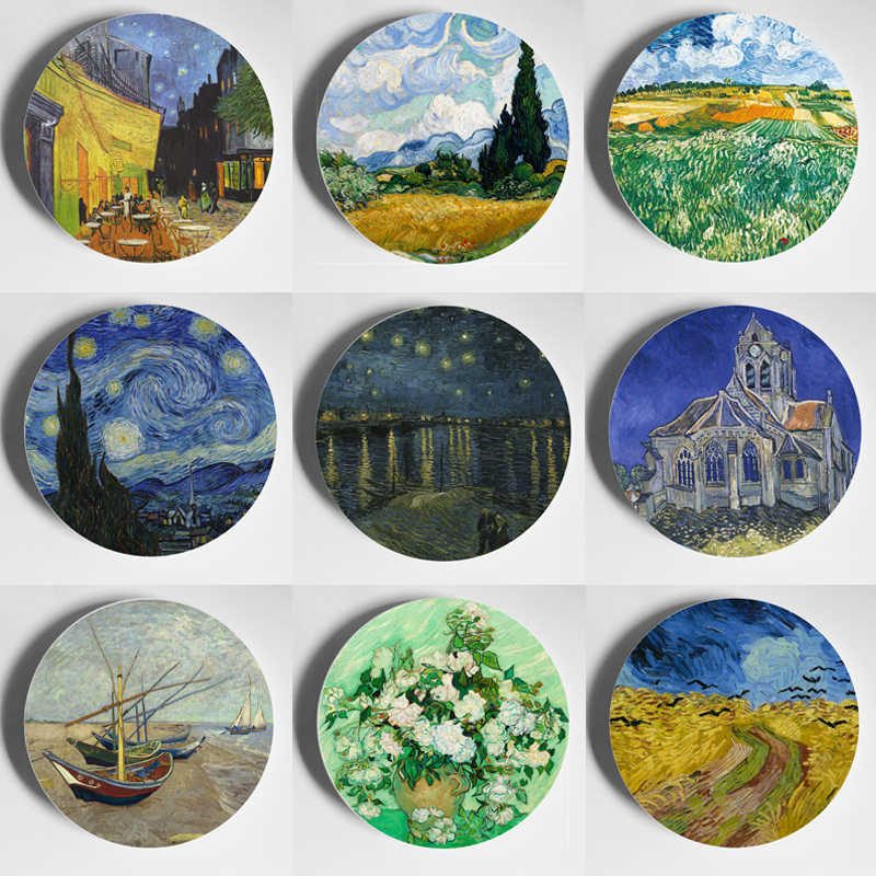 Collectible Van Gao Painting Hanging Plate Wall Fine Bone Chine Decorative For House Living Room Porcelain Dishes Table Holder