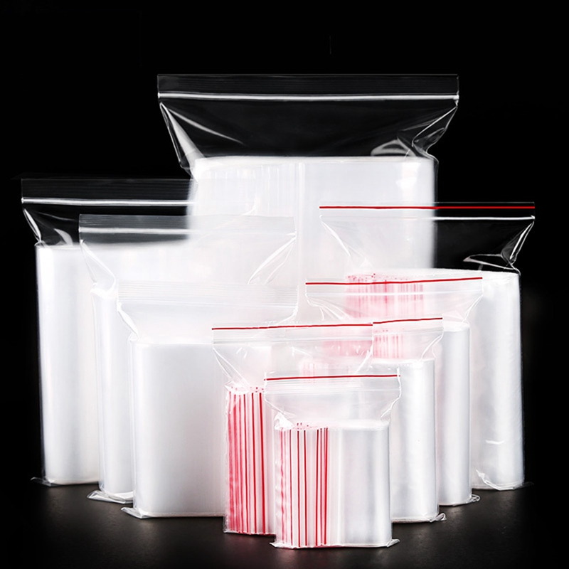 100 Pcs Plastic Ziplock Bags Jewelry Small Ziplock Bag Food Packaging Zip Lock Bags Clear Fresh-keeping Dustproof Reclosable(China)