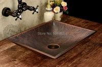 Free Shipping Fashion wash basin, Rectangular Basin, Handmade Copper Sink,Antique Bronze Basin,Brass Countertop Basin, Wholesale
