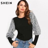 SHEIN Autumn Winter T Shirt Women Multicolor Rib Knit T Shirt With Faux Fur Sleeve Elegant