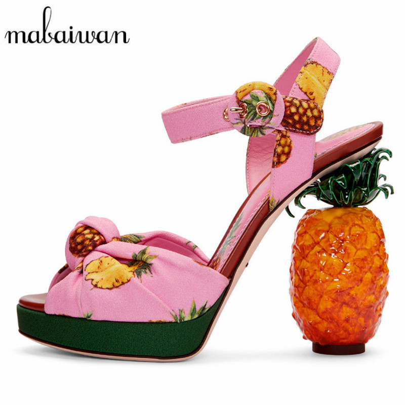 Mabaiwan Pineapple Strange Heel Women Summer Sandals Sexy High Heels Printing Women Platform Pumps Wedding Shoes Woman Stiletto summer fashion strange heel woman sexy pumps golden cut outs heel design cool sandals high heels platform heels party shoes