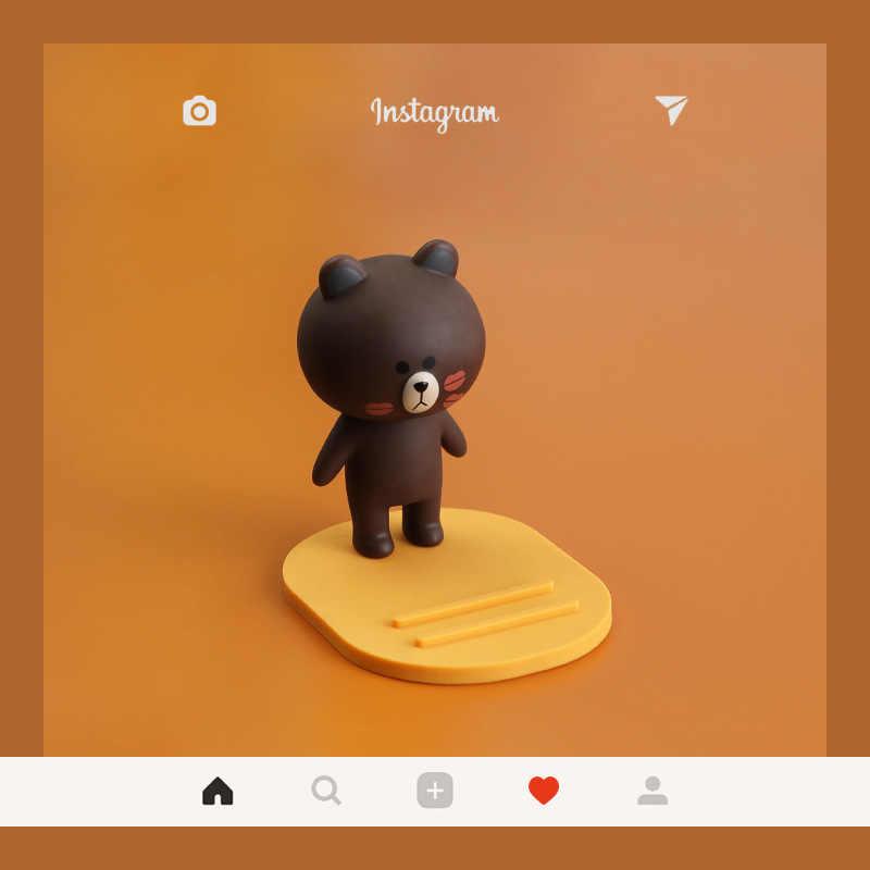 קריקטורה חום דוב ארנב חמוד ילדה לב תוספות רוח יצירתי טלפון נייד סוגר עצלן שולחן עבודה שעון טלוויזיה חפץ נייד חגורה