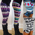 1 pc Asteca Leggings Mulheres Stretchy Knit Presente de Natal Do Floco De Neve Tornozelo Comprimento Leggins Tribal Impresso Casual Skinny Slim Legging