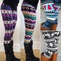 1 unid Azteca Leggings Mujeres Regalo de Navidad Copo de Nieve de Punto Elástico Altura Del Tobillo Leggins Tribal Impreso Casual Flaco Delgado Legging