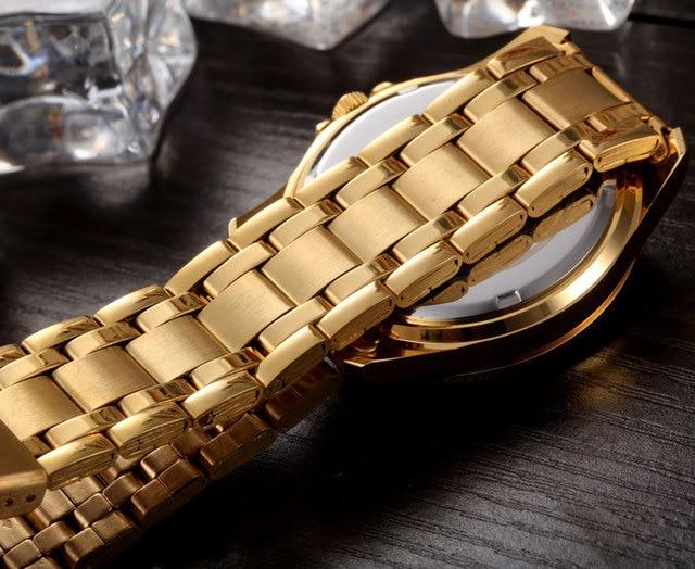 Gold Stainless Steel Quartz-Watch Wrist Watch 5