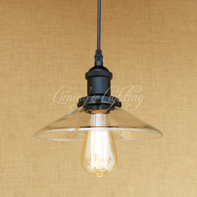 Vintage American Retro LED Glass Pendant Lamp Black Loft Hanging E27 Pendant Lights Bar Restaurant Living Room Lighting Fixtures new loft vintage iron pendant light industrial lighting glass guard design bar cafe restaurant cage pendant lamp hanging lights