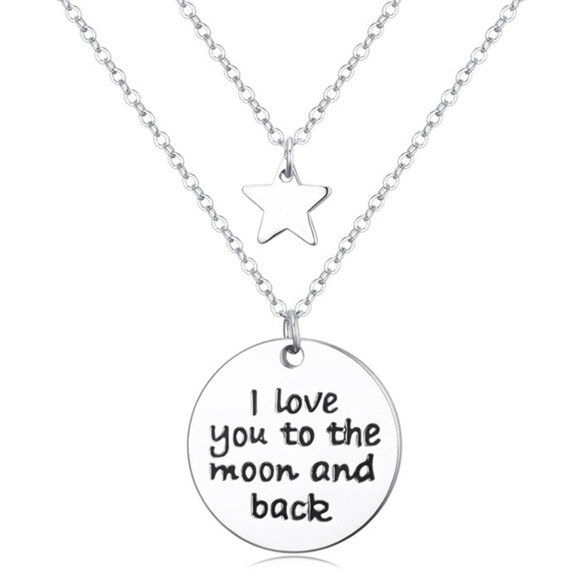 I love you to the moon and back pendant necklace chain gifts for i love you to the moon and back pendant necklace chain gifts for lovers mozeypictures Choice Image