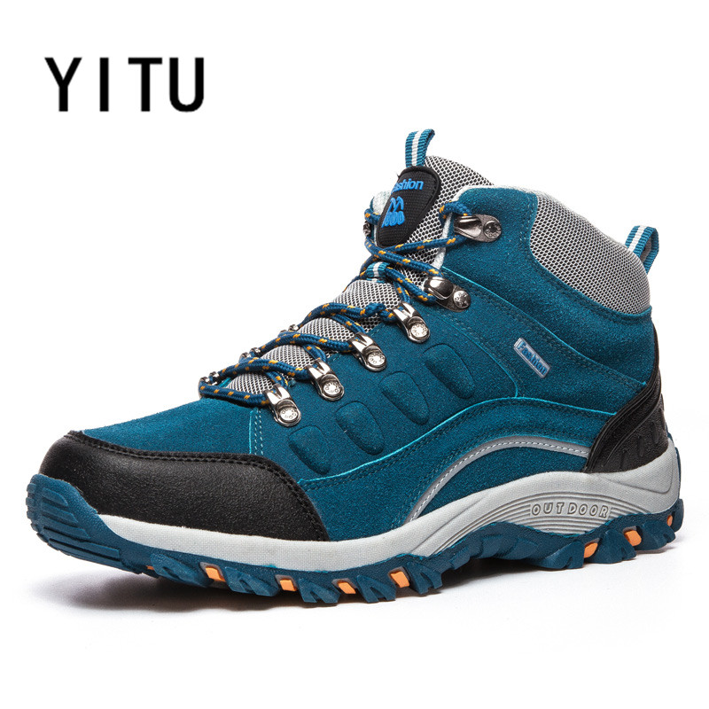 YITU High Top Tactical Shoes For Men Climbing Mountain Outventure Hiking Sneakers Men Breathable Leather Autumn Bize Size Shoes