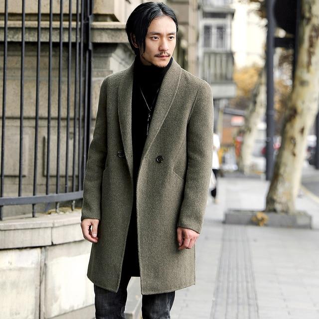 100% Шерстяное пальто мужской осень-зима Бизнес Повседневное Длинные Slim Fit Куртки Для женщин шерстяные пальто Мужская одежда