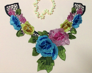 33cm*30cm dyed yarn polyester embroidery collar applique,embroidery decoration collar,XERY0506B